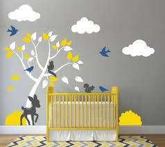Tree Wall Decal For Nursery With Clouds Deer Bushes Birds And Squi Decals By Delia