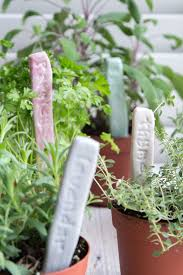 diy stamped clay herb garden markers
