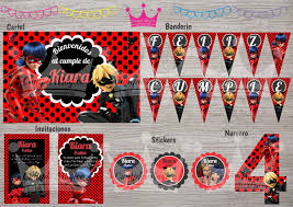 Kit Impreso Ladybug Miraculous Banderin Invitacion Stickers