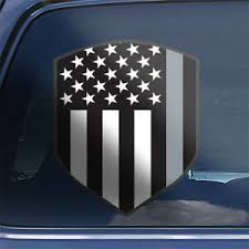 Thin Gray Line American Flag Shield Correctional Officer Window Decal Sticker Ebay