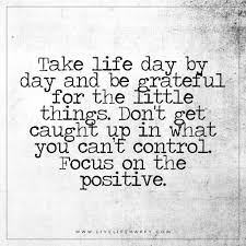 take life day by day and be grateful live life happy