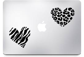 Animal Print Heart Decals