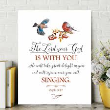 Old Testament Decor Zephaniah 3 17 Bible Wall Art Bible Wall Decal God Is With You Wall Decor Home Living
