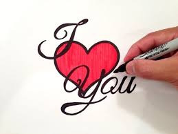 how to draw i love you with a heart