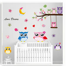 Owl Wall Stickers Animals Jungle Zoo Nursery Baby Girls Bedroom Decal Art Mural Ebay