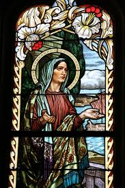 church stained glass art stock photo