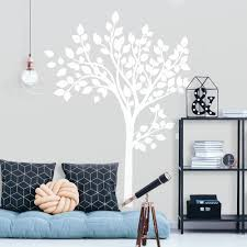 Simple White Tree Peel And Stick Giant Wall Decals Roommates Decor