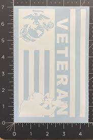 United States Marine Veteran Combat Vet American Flag Decal Etsy