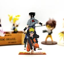 Naruto & Sasuke couple acrylic stand figure model plate holder cake topper anime  Japanese cool|