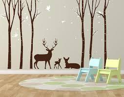 Tree Vinyl Wall Art Sticker Woodland Deer Scene Woodland Etsy Vinyl Tree Wall Decal Vinyl Wall Art Vinyl Wall Tree