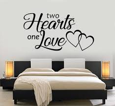 Vinyl Wall Decal Two Hearts One Love Inscription Bedroom Romance Stick Wallstickers4you