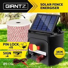 Giantz Electric Fence Energiser 3km Solar Powered Charger Set With Tape 9350062020364 Ebay
