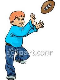 A Boy Ready To Catch A Football - Royalty Free Clipart Picture