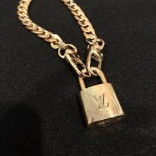 louis vuitton lock necklace with gold