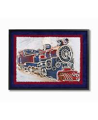 Stupell Industries The Kids Room Blue And Red Vintage Inspired Train Art Collection Reviews All Wall Decor Home Decor Macy S