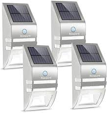 Amazon Com Roopure Fence Post Solar Lights Outdoor Solar Wall Lights Motion Activated Solar Powered Security Light Waterproof For Paradise Fence Deck Stairs Yard Garden Stainless Steel 4 Pack Home Improvement