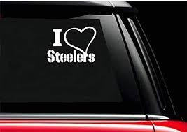 Amazon Com Byron Hoyle I Love Heart Steelers Auto Decal Window Pittsburgh Tide Nfl Afc Team Football 5 X 5 Home Kitchen