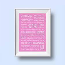 nursery rhymes pink poster a3