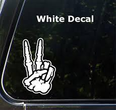 The Decal Store Com By Yadda Yadda Design Co Car Skeleton Hand Peace Sign Car Vinyl Decal Sticker Md 3 5 W X
