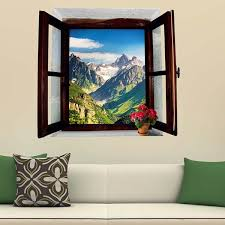 41 Off 2020 Home Decor 3d Stereo Natural Mountain Window Design Wall Stickers In Green Dresslily