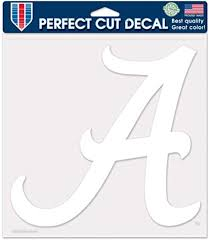 Amazon Com Alabama Crimson Tide Ncaa Vinyl Die Cut Window Decal Auto Car Logo White 8x8 Sticker College Licensed Team Logo Sports Outdoors