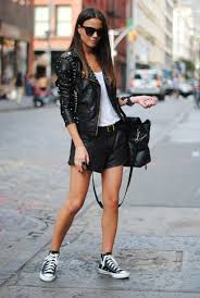 white tank with black leather shorts