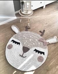 Deer Rug Girl Beige Pink Rugs Crochet Carpet Kids Rugs