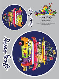 Packed Bus Peace Frogs Car Sticker Enjoy It
