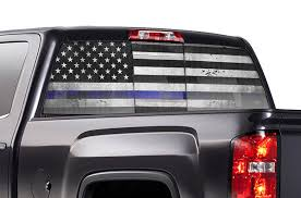 Chevy Silverado Rear Window Decals Thin Blue Line Flag Racerx Customs Truck Graphics Grilles And Accessories