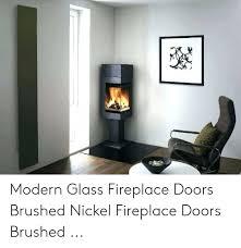 glass fireplace doors brushed nickel