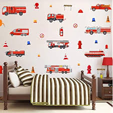 Amazon Com New Fire Trucks Wall Decals Fireman Bedroom Stickers Kids Red Decor Decorations Kitchen Dining