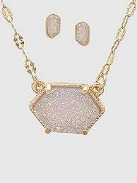 geometric shape druzy necklace set