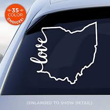 Amazon Com Ohio State Love Decal Oh Love Car Vinyl Sticker Add A Heart Over Columbus Cleveland Cincinnati Toledo Akron Dayton Made With Outdoor Vinyl Handmade