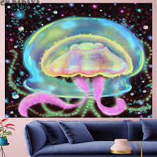 Bottle Drifting Art Tapestry Kids Room Wall Hanging Jellyfish Sheets Personality Hippies Tapestry Home Decor Bohemian Beach Mat Tapestry Aliexpress