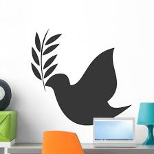 Dove With Olive Branch Wall Decal Wallmonkeys Com