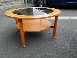 retro round circular coffee table teak