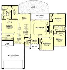 ranch style house plan 4 beds 2 baths