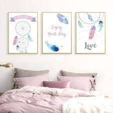 Amazon Com Xykshiyy Nursery Girl Decor Canvas Paintings Dreamcatcher Boho Style Love Purple Wall Art Posters Print Pictures For Kids Room Home 50x70cmx3pcs No Frame Posters Prints