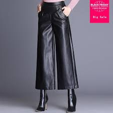 ankle length wide leg leather pants