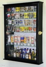glass shelves shot glasses display case