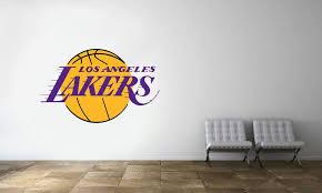 Los Angeles Lakers Logo Wall Decal Nba Basketball Decor Mural Vinyl Sticker Logo Wall Basketball Room Lakers Logo