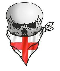 Biker Skull With Face Bandana St Georges Cross England Flag Car Sticker Decal Ebay