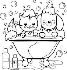 Hond En Kat Nemen Van Een Bad Kleurplaten Pagina Clipart Afbeelding
