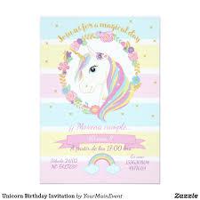 Invitacion Del Cumpleanos Del Unicornio Zazzle Com Unicorn