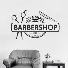Barbershop Logo Wall Decal Personalised Custom Years Decals Art Man Haircut Beard Salon Wall Sticker Shopwindow Decor Hot Lc1369 Wall Stickers Aliexpress
