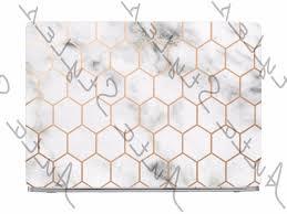 White Marble Gold Honeycomb Laptop Skin Vinyl Decal