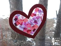 tissue paper stained glass heart