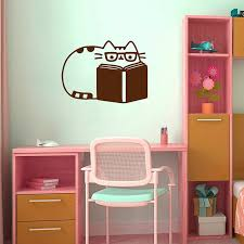 Fat Cat Cats Books Book Kitty Girl Wall Sticker Kids Baby Room Decoration Reading Kids Room Study Library Poster Mural Lx179 Wall Stickers Aliexpress