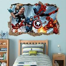 Marvel Super Heroes Smashed Wall 3d Decal Removable Wall Sticker Iron Man H177 Ebay