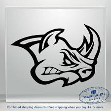 Angry Rhinoceros Decal Head Rhino Car Bumper Window Vinyl Sticker Tribal Truck Ebay